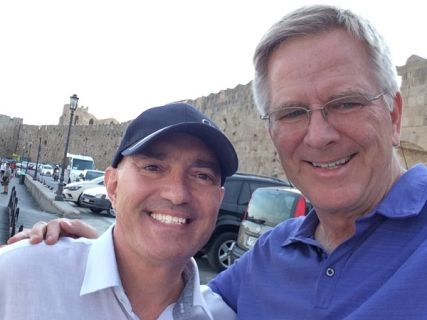 Nicholas with Rick Steves in Rhodes island while planning, writing and filming for the TV show Rick Steves Europe