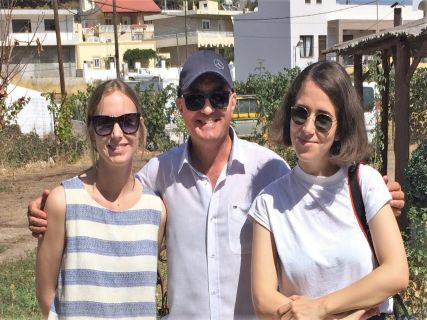 Nicholas with the Writer Celina Prag and the Photographer Ana Santl, while shooting and writing about Rhodes Island